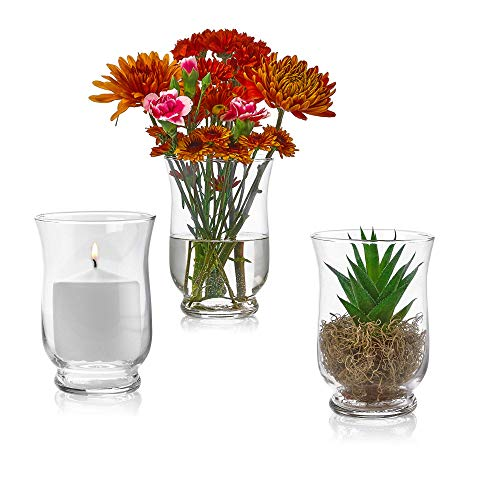 Set of 3 Glass Hurricane Vases 6 Inch Tall x 4 Inch Opening - Multi-use: Pillar Candle Holder, Flower Vase - Perfect as a Wedding Centerpieces, Home Decoration (Extra Large Hurricane Vase)