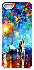 Generic Lover with Umbrella Stroll Path at Night Abstract Painting Art Hard Case for iPhone 5s white