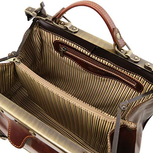 En Marrón De Hebillas Leather Oscuro Tuscany Bolso Con Frontales Negro Monalisa Doctor Piel 6aw4ZqXTn
