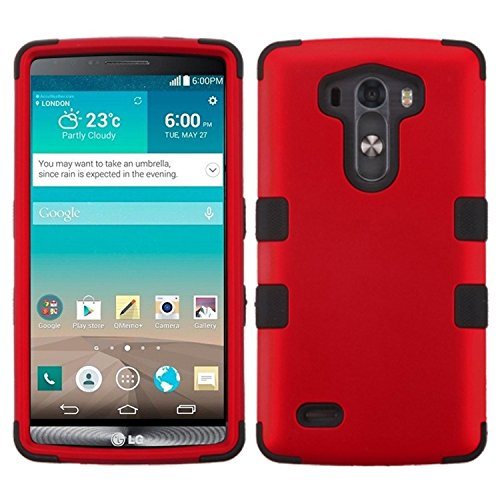 Asmyna Titanium TUFF Hybrid Phone Protector Cover for LG G3 - Retail Packaging - Red/Black (Lg G3 Titanium Case)
