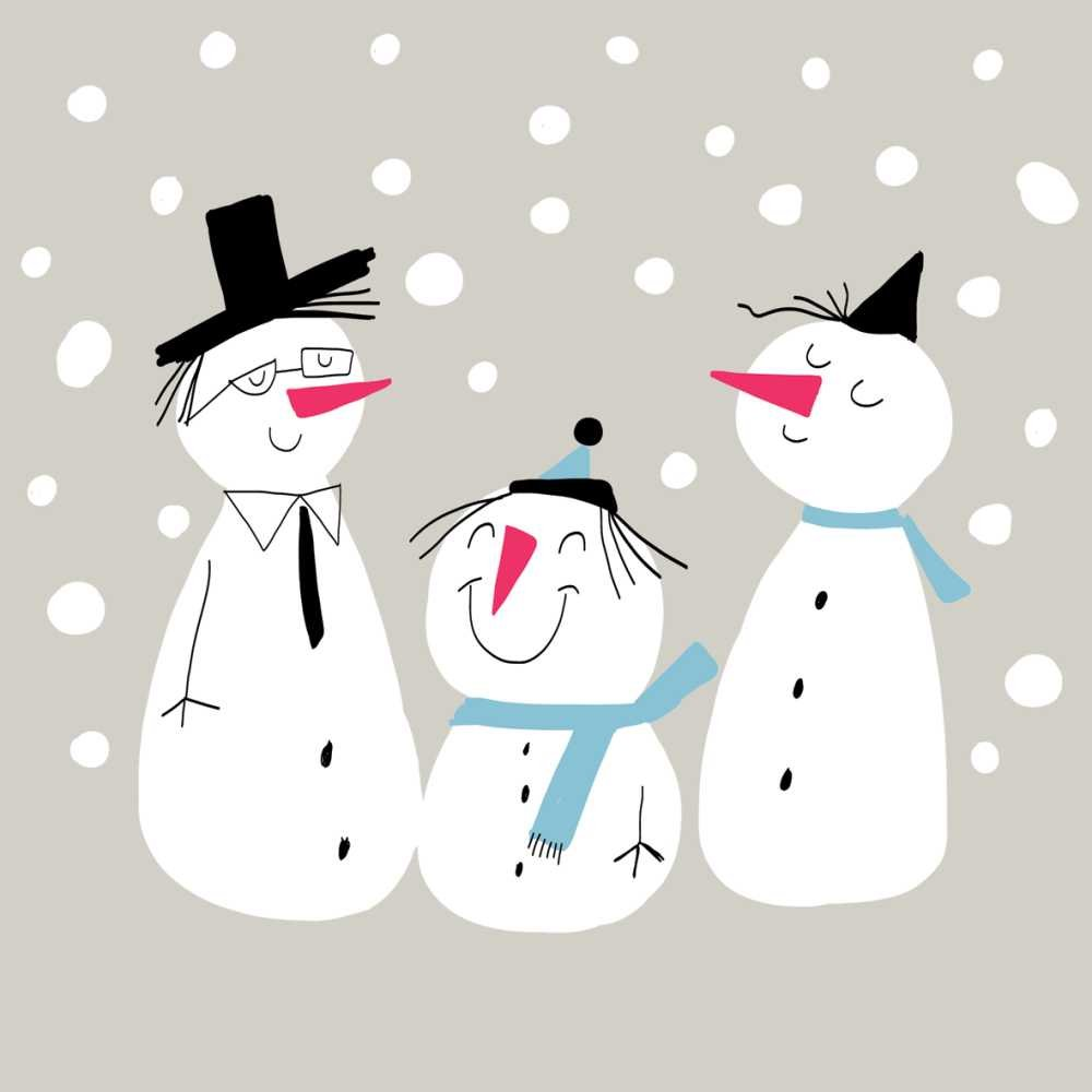 Paperproducts Design Beverage/Cocktail Napkins (Pack of 20), Smiling Snowmen, Multicolor by Paperproducts Design