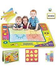 Lenbest Aqua Magic Doodle Malmatte, 80x60CM 4 Farbe Kinder Zeichnung Mat Board mit 5 Stift, 1 Charakterform, 1 extra Dinosaurierheftchen - Pädagogisches Geschenk für Kinder