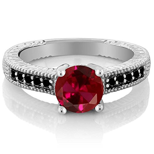Gem Stone King 1.72 Ct Round Red Created Ruby Black Diamond 925 Sterling Silver Engagement Ring (Size 9) (Diamond And Ruby Engagement Ring)