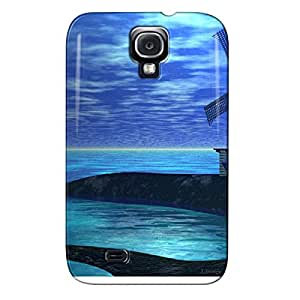 Windmill On The Water's Edge Navy Shock Absorption Protective Hard Case For Sumsang Galaxy S4 Windmill On The Water's Edge