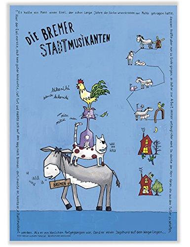 Poster mit Bremer Stadtmusikanten für Baby Kinder Kindergarten Kinderzimmer Tierposter