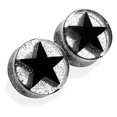 Covet Jewelry Black UV Acrylic 3D Star Double Flare Glitter Plug ()
