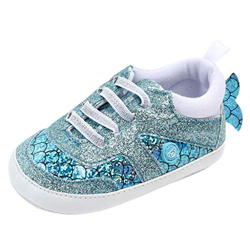 RAINED-Sequins Bling Beach Princess Shoes for Infant Kids Scale Fish Tail First Walkers Shoes Summer Outdoor Shoes Blue ()