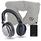 Active Noise Cancelling Wireless Bluetooth Headphones Has In-line Microphone Up to 30 hrs Playtime for Airplane Travel, iPhones, Smartphones, Laptops, TV & Work With Travel Pillow & Slim Power Charger