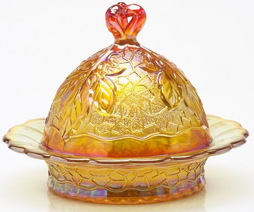 - Butterdish - Maple Leaf Pattern - Mosser Glass USA - Marigold Carnival