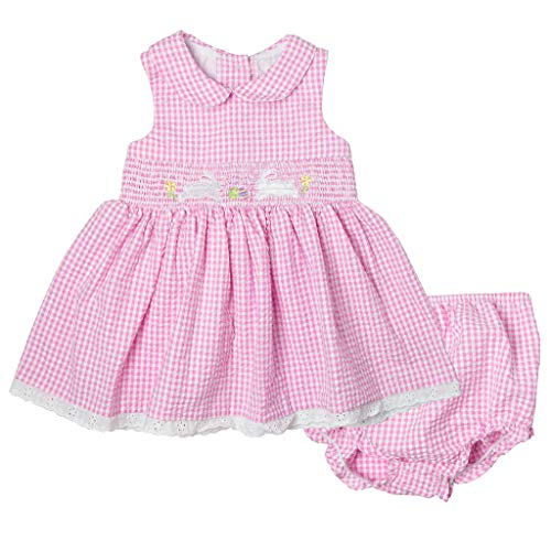 Good Lad Newborn/Infant Girls Pink Gingham Seersucker Smocked Dress with Bunny Embroideries (24M)