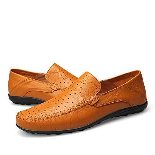 Hollow Casual Loafer Morbidi On Driving Mocassini Yellow Brown Dimensione Uomo Slipper Moda 41 di Design Slip Vamp da Color EU alla g1wqanx