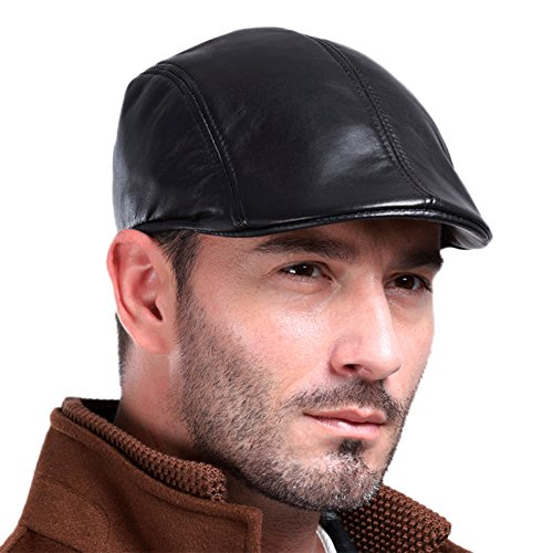 Vemolla Men's Real Leather Fashion newsboy IVY Cabbie Cap Gatsby Flat Golf Hat Black - To How Man's Measure Size A Hat