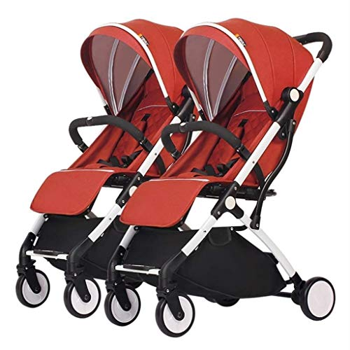 XZHSA Double Stroller | Lightweight Double Stroller with Tandem Seating (Color : Orange)