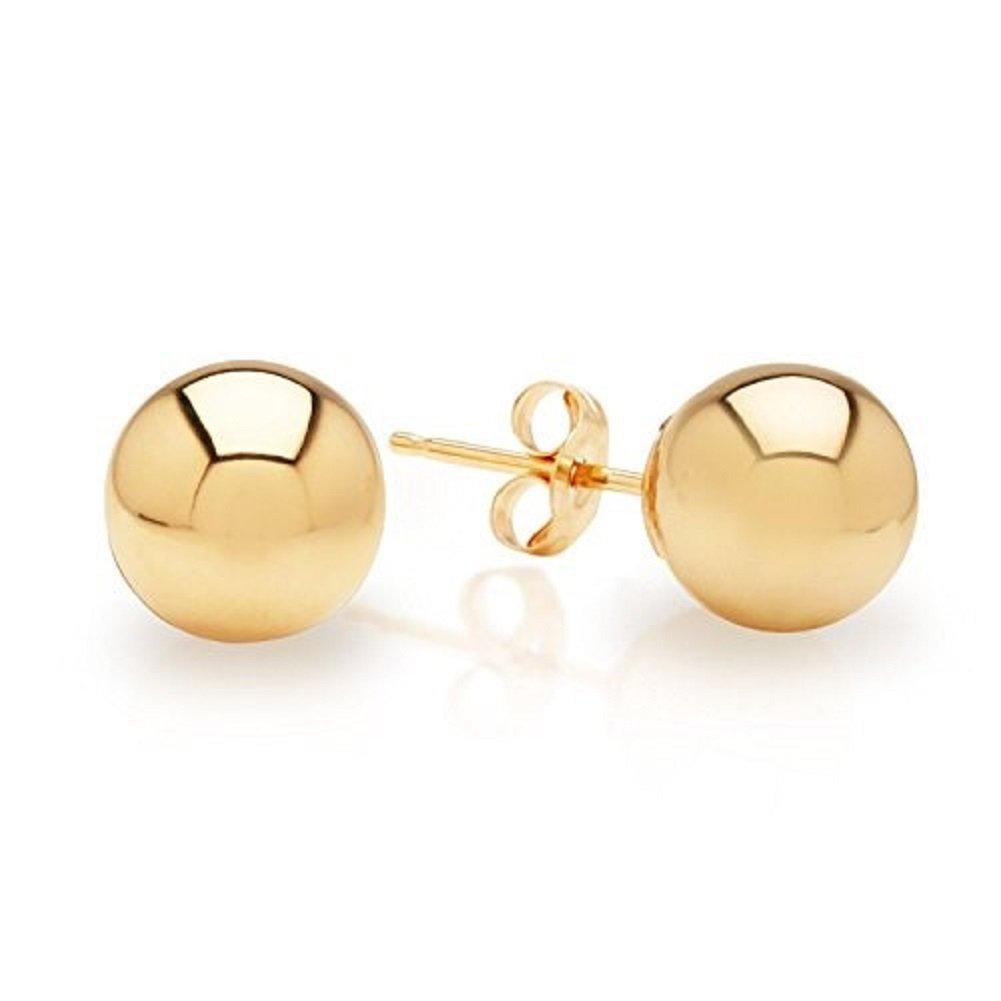 14K Real Gold Ball Stud Earrings Sizes 3 4 5 6 7 8 9 10 12 14
