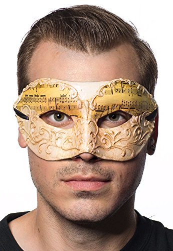 Music Notes Men's Antique Cream Masquerade Mask by Elevate Costumes (Music Masquerade Mask)