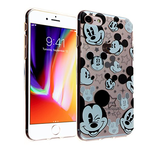 iPhone 8 Case, DURARMOR FlexArmor Clear Mickey Mouse Faces Soft Flexible TPU Bumper Case Ultra Thin ScratchSafe Shock Absorption Protective Case Cover for iPhone 8 Mickey Mouse Faces
