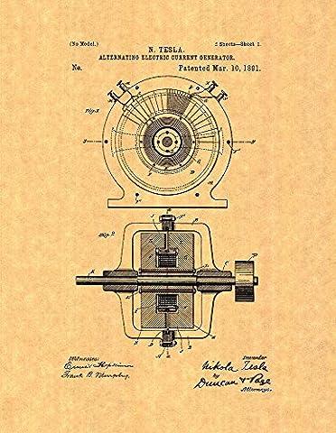 Tesla Alternating Electric Current Generator Patent Print Art Poster (8.5