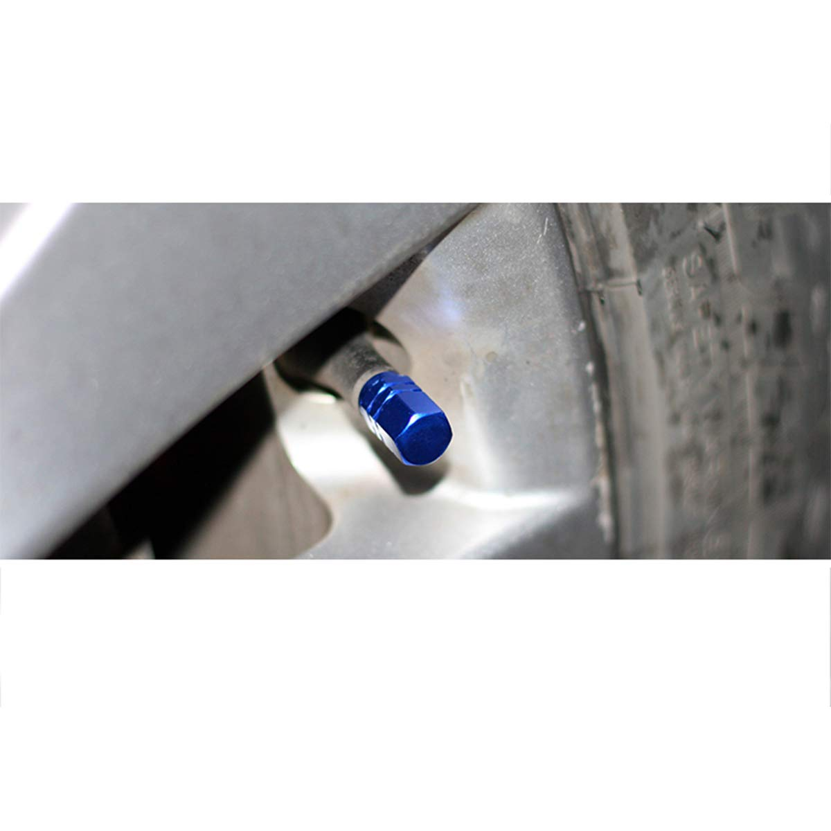 Blue Hexagon Shape Y-SPACE 5 Pieces Tire Stem Valve Caps Wheel Valve Covers Car Dustproof Tire Cap