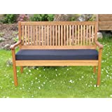 PnH® Garden Bench Cushion, 2 Seater 3 Seater And Full Cushion Sets Including Back Pads Available, Many Colours, Use Indoors Or Outdoors (120cm (2 Seater) CUSHION, Black)