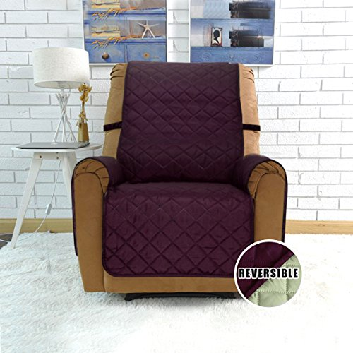 Sofa Covers, Slipcovers, Reversible Quilted Furniture Protector, Water Resistant, Improved Anti-Slip Couch Shield with Elastic Straps, Micro Fabric Pet Cover by Easy-Going (Recliner, (Furniture Sofa Recliner)