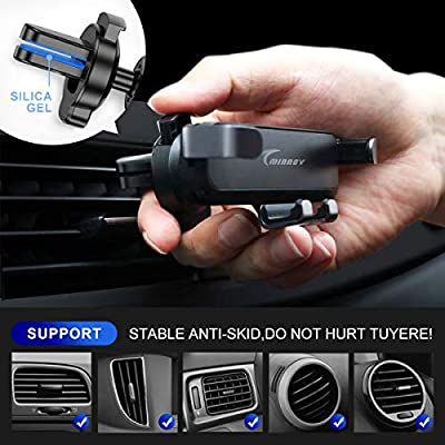 TMINNOV Car Phone Holder, Gravity Cell Phone Mount Air Vent, Auto Clamping Auto-Lock and Auto-Release Compatible with iPhone 6 7 8 X 11 and More Universal Mobile Phone