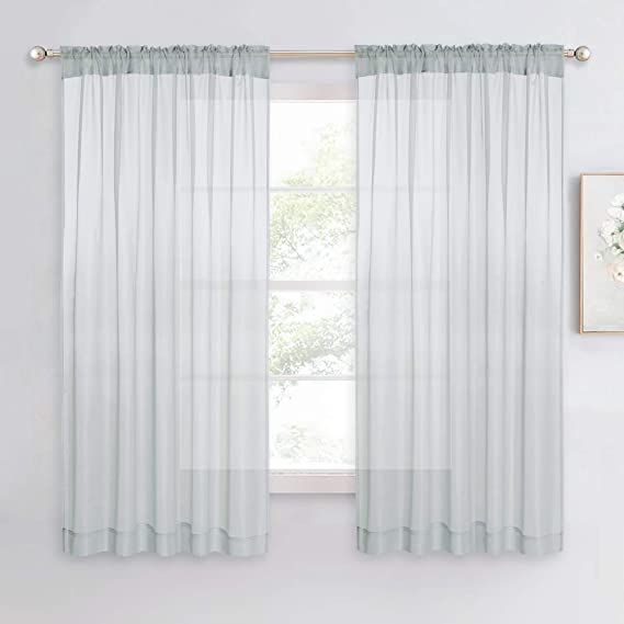 ROD POCKET CURTAIN PANELS PAIR OF VOILE SLOT TOP Many Colours /& Sizes