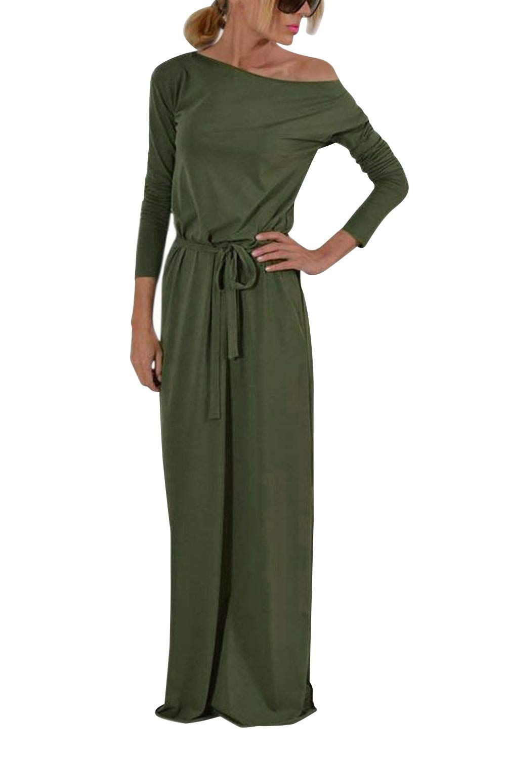 Yidarton Women's Casual Long Sleeve Solid Party Summer Long Maxi Dress Army Green M