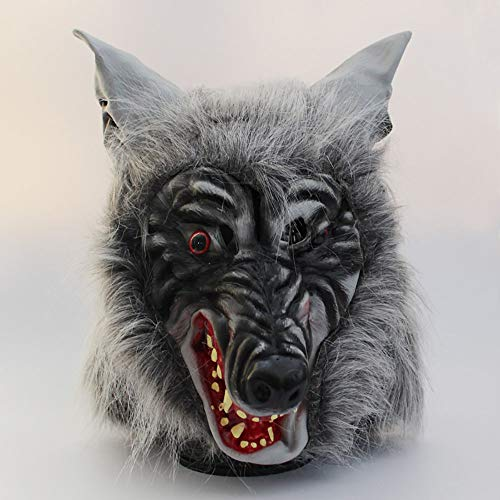 LHMASK Halloween Masks Adults Scary Cosplay Wolf Wig Costume Ball Prop Horror Animal Head Wolf Head Hat,Gray - Brown Wolf Vinyl Mask