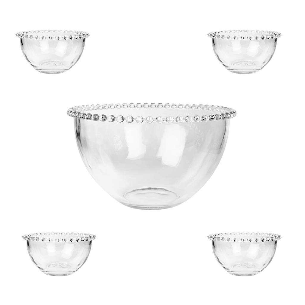 Bella Perle - Glass Bowls With Beaded Edges Gift Set – An Ideal Wedding Gift or House Warming Gift Idea, great for Christmas desserts and trifle! – Large Bowl And Four Smaller Bowls Supplied. As used by Nigella Lawson and GBBO! Dibor