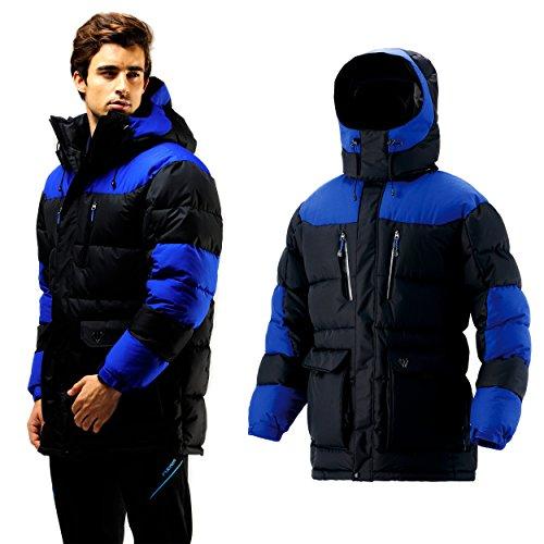 4250fd9bbac Fuerza Mens Winter Down Wellon Hooded Parka Jacket - Black Blue - Medium  well-