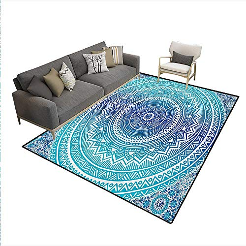 - Floor Mat,Spiritual Ritual Symbol Universe Cultural Center Point Balance Meditation Theme,3D Printing Area Rug,Pale Blue,5'x6'