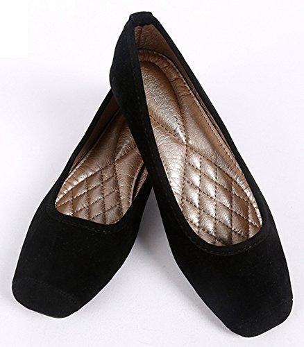 Sfnld Womens Classic Square Toe Low Cut Flats Slip On Ballet Shoes Black VXh5rzaOR