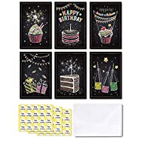 Ohuhu Happy Birthday Gift Cards, 48 Assorted Folded Kids Birthday Greeting Blank Note Cards