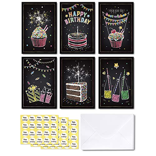 48-pack Happy Birthday Cards, Ohuhu Black Folded Card for Kids Birthday, Blank Inside Greeting Note Cards W/White Envelopes and Stickers, 4x6 Inch, Candle, Cake, Gift, Spark Designs Card ()
