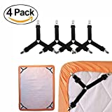 #4: Bed Sheet Fasteners 4 Pack Short Adjustable Triangle Elastic Straps Suspenders Gripper Holder for Mattress Covers Sofa Cushion Black by GESCHOK