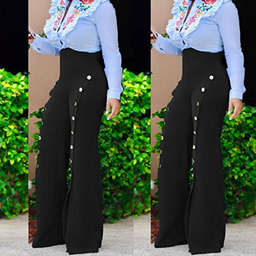 M pantalon bleu Noir large Grande palazzo taille Mamum jambe Pantalons Femmes Exzqf8v