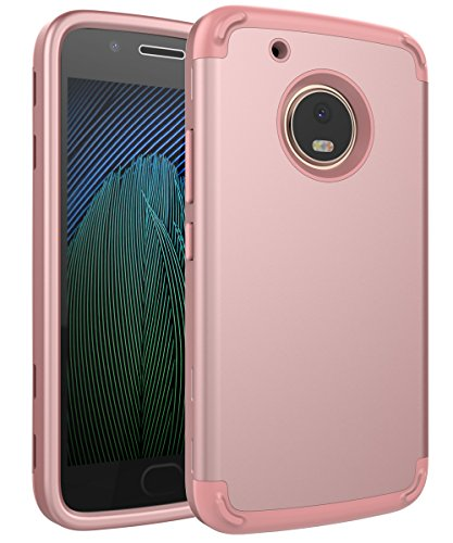 Moto G5 Plus Case,SKYLMW Three Layer Heavy Duty High Impact Resistant Hybrid Protective Cover Case for Moto G Plus (5th Generation),Rose Gold