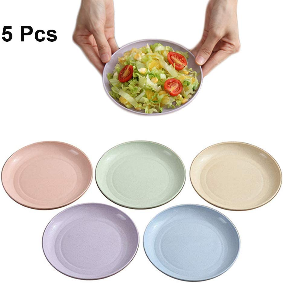 5.9 Inch Wheat Straw Appetizer Dinner Plates, Small Serving Cake Dessert Plates, Salad Plates, Charcuterie Accessories, Dipping Sauce Plate, Assorted Colors Dinnerware set of 5, Dishwasher Safe