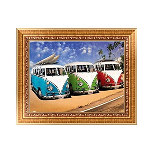 Sttech1 DIY Diamond Embroidery Painting, Rhinestone Pasted Painting By Number Kits For Kids, Bus Station Car Picture Wall Stiker Room Decor (Bus)