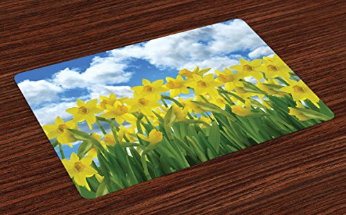 Lunarable Daffodils Place Mats Set of 4, Field of Daffodil Flowers Against Summer Sky Cloudscape Picture Print, Washable Fabric Placemats for Dining Room Kitchen Table Decor, Yellow Green