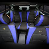 FH GROUP PU205115 Ultra Comfort Leatherette Seat Cushions, Blue / Black Color - Fit Most Car, Truck, Suv, or Van