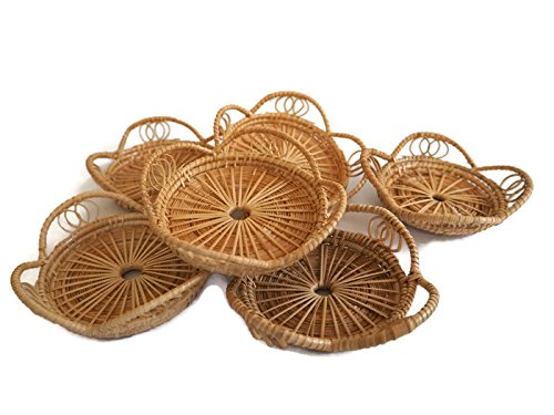 (Set of 6 Pcs.) Wooden Reed Coasters