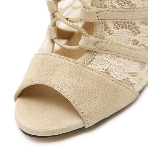 pesce esposti bene con sandali scarpe nero bocca di alti con pizzo tacchi 39 moda Donna i ZHZNVX vzSq77