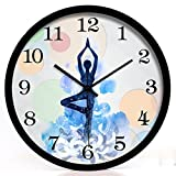 CCYYJJ Yoga Studio Weight-Loss Practice Room To The Meditation Art Decoration Mute Hanging Wall Clock Table Select (Color White Size: S,)
