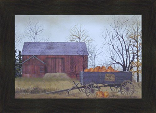 (Pumpkin Wagon by Billy Jacobs 16x22 Pumpkins For Sale Red Barn Wagon Fall Autumn Crops Primitive Folk Art Print Framed Picture (2