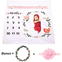 CAVN Monthly Baby Milestone Blanket Photo Props Shoots Backdrop, Reusable Infant Baby Swaddling Blanket for Photography