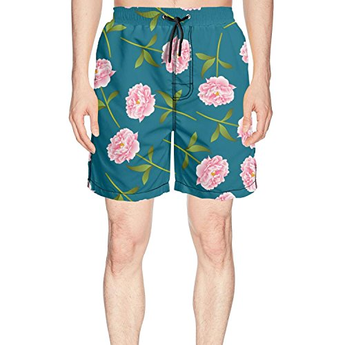 DGHIJAUSA Pink Roses Flower Blue Background Casual Adult Beach Shorts for Men from DGHIJAUSA