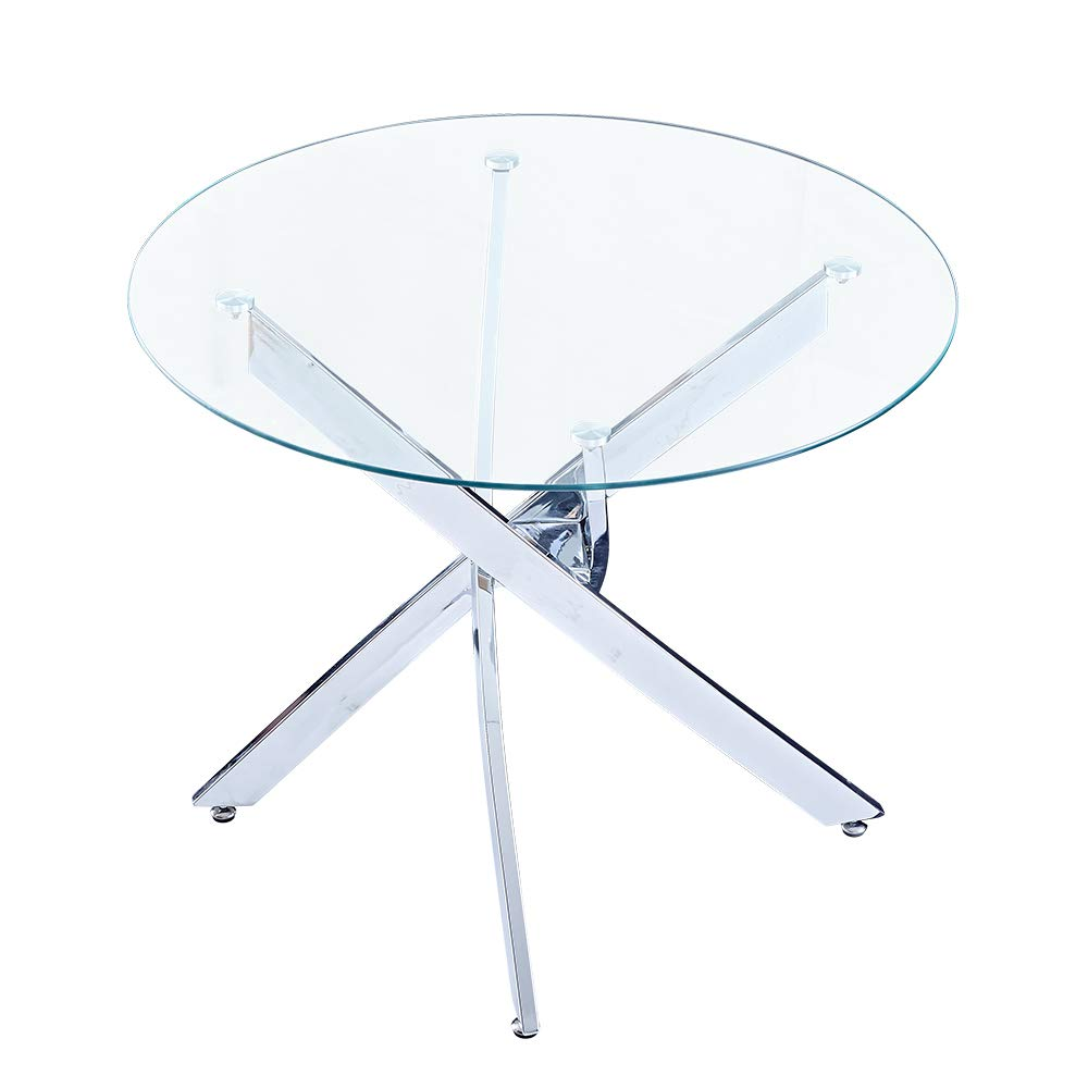SICOTAS 35.4'' Round Dining Table with Clear Safety Tempered Glass Top Stable Chrome Cross Legs,Small Kitchen Table for 4 Person (Table Only) by SICOTAS (Image #2)