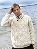100% Irish Merino Wool Shawl Collar Aran Sweater, Natural, Large