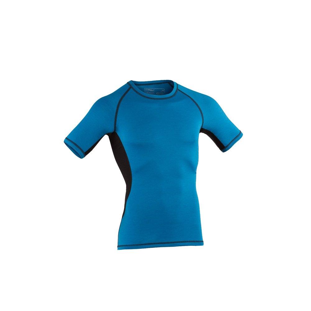 Engel Sports Bio Funktionswäsche Herren Kurzarm Shirt aus Bio Merinowolle und Seide mit Elasthananteil (XL, Sky schwarz)